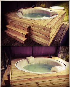 Habillage jacuzzi gonflable intex. Fabrication d'un habillage en sapin