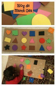 Tarde de manualidades: cartón reciclado + recortes de goma EVA de colores + velcro = entreteniendo a la peque...