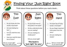 """Use this poster to help your students find their """"just right"""" book. Great for use in daily 5."""
