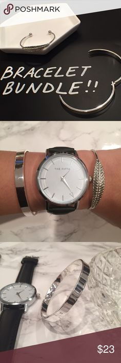 Silver Stackable Bracelet/Bangle/Cuff Bundle! Brand new bracelets! One leaf adjustable cuff AND one bangle diameter: 2.5inches. They are better together! (Watch⌚️️ is also available for sale in my closet! Bundle and save 15%!)       ⭐️20% of all earnings are donated to the A21 campaign that works toward ending human trafficking in the 21st century⭐️  ❣️27 MILLION slaves worldwide- Most in history! 💔1-2% of victims are ever rescued ❣️The average age of a trafficking victim is 12 YRS OLD…