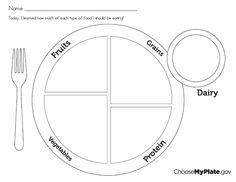 My Food Plate Worksheet
