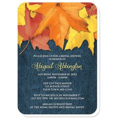 Southern country inspired Autumn Bridal Shower invitations, with rustic yellow, orange, and red Fall leaves over a blue denim fabric pattern illustration.