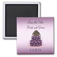 Purple Wedding Cake Save the Date Magnet