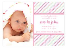 Polka Dot Birth Announcements for Girls are a cute way to tell the world about your new baby girl. This Pink Ruffles Photo Card from The Rosanne Beck Collection is a modern design that can bring joy to your world like your little girl did. Choose to enter the design studio by hitting the customize this item button and design your own custom birth cards for girls. Choose from a variety of fonts and colors and use our sample text or bring your own wording idea.