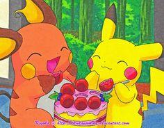 Raichu and Pikachu eating a cake. It has been sitting in my unfinished fanart folder since Pikachu x Raichu: Sharing Cake Ash Pokemon, Type Pokemon, Pokemon Games, Pokemon Stuff, Pikachu Raichu, Anime Toon, Original Pokemon, Kawaii, Fan Art
