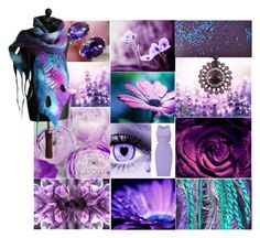 """""""Floral Fantasy in Purple"""" by crystalglowdesign ❤ liked on Polyvore featuring art"""
