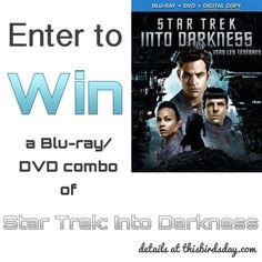 Enter to Win Star Trek Into Darkness on Blu-ray/DVD - http://www.thisbirdsday.com/win-star-trek-darkness/ #Giveaway, #Startrek
