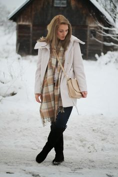 Beige Coat from Primark with some soft checked Scarf, a cross body bag from Orsay and Overknees from Deichmann / Winter Look / Winter Outfit