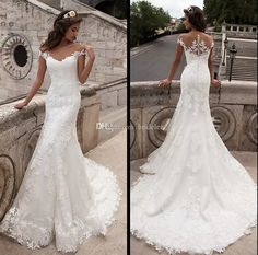 2018 Vintage Mermaid Wedding Dress Sexy Scoop Neck Lace Bridal Gown Custom Size