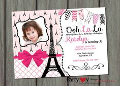 Pink and Black Paris Invitation with Photo  by PartyInvitesAndMore, $12.00