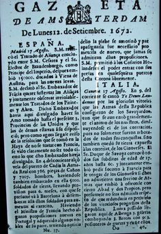 Gazeta de Amsterdam, perhaps the world's first business newspaper.