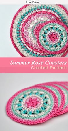 Summer Rose Coasters Crochet Free Pattern