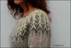 Ravelry: Project Gallery for Vintersol pattern by Jennifer Steingass Hand Knitted Sweaters, Knitting Sweaters, Icelandic Sweaters, Sweater Design, Pulls, Free Knitting, Color Combinations, Ravelry, Knitwear