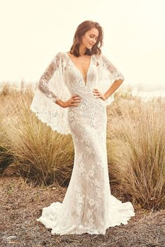 Boho lace fit and flare gown with flutter sleeves available off-the-rack at Silk Bridal Studio. Allure Bridal, Blush Bridal, Lillian West, Lace Wedding Dress, Dream Wedding Dresses, Bridal Dresses, Wedding Gowns, Rembo Styling, Style Boho