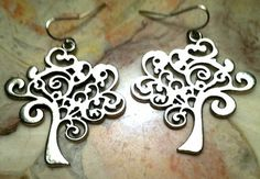 TREE OF LIFE earrings new design silver Boho Hippie Kabbalah Celtic Wiccan