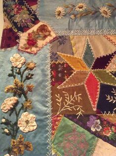 I ❤ crazy quilting & embroidery . . .  Elizabeth Parkhurst Williams Crazy Quilt (1884-90) Ribbon Roses & Daisies- A very rare BEAUTY. I love the overall pastel impression & softness of most tones. Although there are many vibrant jewel tones as well. All the loving artistic needlework embroidery of Mary Beatrice. Special dates, initials, musical notes on a scale, blessings symbols, cupid's hearts, roses, tulips, sunbursts, ferns & so many other interesting floral & geometric stitches.
