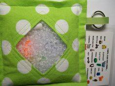 I Spy Bag Green with Polka Dots Neutral themed contents by JanetR