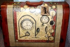 Vintage suitcase covered with Graphic 45 paper. Real pocket watches attached inside!