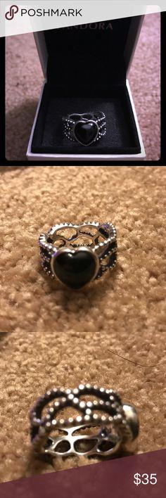 Pandora Ring size 52/6,Pandora Mi Amor Black Onyx statement ring Pandora Jewelry Rings