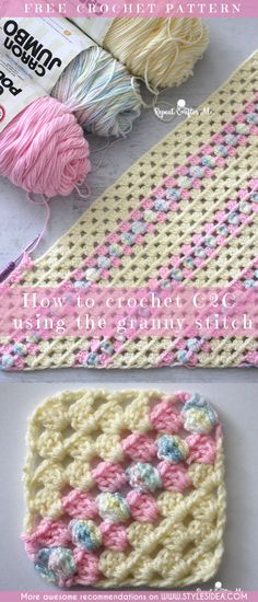 How to Crochet C2C Using Granny Stitch Blanket. Crochet → Stitch for Blanket | Written | US Terms Materials: – Size G Crochet Hook – Tapestry Needle– Caron One Pound yarn in Cream and Soft Pink. – Caron Jumbo yarn in Baby Rainbow. Level: beginner Author Sarah freecrochetPatterns #afghan #freecrochetPatternsforafghan #freecrochetPatternsforblanket #crochetstitch #crochet