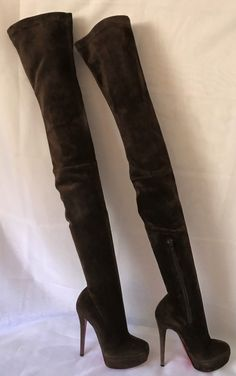 10e336c2ad1b7 CHRISTIAN LOUBOUTIN Gazolina Suede Platform Thigh High Boots 140 Heel 36IT  6US