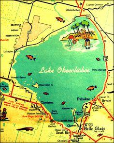 vintage map photograph florida