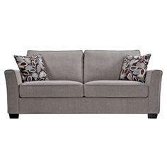 Portfolio Madi Crimson Red Microfiber Sofa with Wine Striped