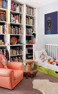 Olive's bedroom features a patchwork alligator; which was made by the Campana Brothers as a gift for her