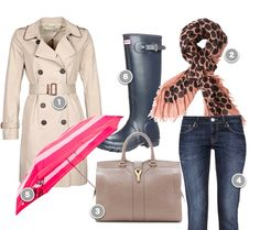 Trenchcoat, bag (you can carry another pair of shoes in your bag, perhaps flats),  an umbrella, Hunter boots - the perfect Outfit for rainy days