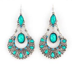 Pair of Bohemian Openwork Women's Waterdrop Shape Earrings