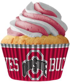 NEW The Ohio State Buckeyes Collegiate Cupcake Baking Liners Made in USA, Superior Quality - Heavy Duty, Free Standing - No Muffin Pan Required, Color Fast, No Fade Design Grease-proof, 32 liners per set. Officially licensed - side view of liner.