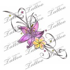 Marketplace Tattoo Lily & Freesia Flower Foot Tattoo #2292 | CreateMyTattoo.com