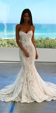 24 Trumpet Wedding Dresses That Are Fancy & Romantic ❤ trumpet wedding dresses sweetheart full lace nektaria world ❤ Full gallery: https://weddingdressesguide.com/trumpet-wedding-dresses/
