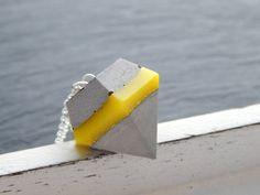 Ketten lang - Kette - Diamant mit Gelb und Grau - ein Designerstück von Fontaenchen bei DaWanda