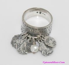 Silpada Artisan Jewelry Etched 925 Sterling Silver Coin White Pearl Cha Cha Ring Size 11 Rare Retired