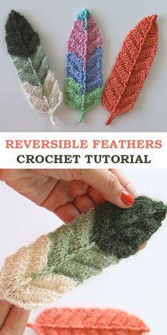 Crochet Gifts, Crochet Baby, Free Crochet, Knit Crochet, Crochet Feathers Free Pattern, Feather Pattern, Freeform Crochet, Crochet Stitches, Easy Crochet Bookmarks
