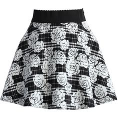Chicwish Check and Roses A-line Skater Skirt ($42) ❤ liked on Polyvore featuring skirts, bottoms, multi, tweed skirt, elastic waist skirt, black and white checkered skirt, black and white skirt and circle skirt