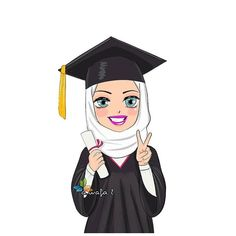 Graduation should be celebrated as the day of success, a long and challenging process. Graduation Cartoon, Graduation Drawing, Girl Graduation Pictures, Graduation Diy, Fond Design, Sarra Art, Hijab Drawing, Graduation Balloons, Cartoon Girl Images