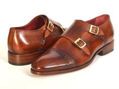 Paul Parkman Men's Cap-Toe Double Monkstraps Camel & Light Brown – Styles By Kutty