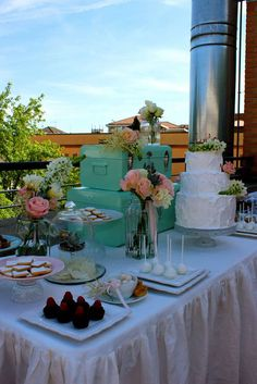 Pretty dessert table at a baptism party! See more party ideas at CatchMyParty.com!