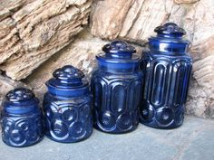 I totally need these! Cobalt Glass, Cobalt Blue, Canister Sets, Canisters, Vintage Moon, Fenton Glass, Drawer Knobs, Star Patterns, Vintage Glassware