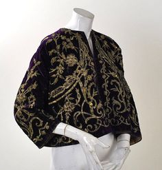 19th Century Ottoman Empire Gold Metallic Embroidered Purple Velvet Jacket