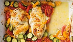 Baked chicken breast on vegetables – Recipes – Women's Health Vegetable Recipes, Meat Recipes, Real Food Recipes, Chicken Recipes, Healthy Recipes, Healthy Food, Recipes With Chicken And Peppers, Chicken Piccata, Creamed Spinach