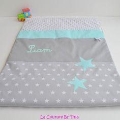 couverture plaid bébé personnalisé Couverture bébé personnalisable blanc étoile gris et hibou vert  couverture plaid bébé personnalisé