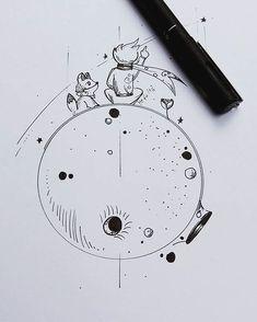 Arte do pequeno príncipe desenvolvida para tatuagem da cliente @camilajustinomakeup. Arte registrada. Www.kefonascimento.com.br