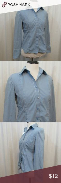 """LOFT Blue Embroidered Long Sleeve Top 6P Brand: Ann Taylor LOFT Size: 6P Material: 96% Cotton 4% Spandex Care Instructions: Machine Wash  Bust: 36"""" Sleeves: 22"""" Length: 22""""  All clothes are in excellent used condition. No tears, stains or holes unless otherwise I noted.   P68 LOFT Tops Blouses"""