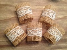 Lace/Burlap napkin rings- MADE TO ORDER. $0.85, via Etsy.