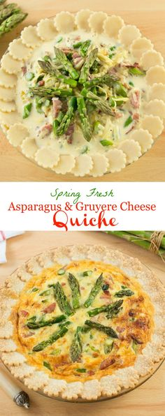 Spring Fresh Asparagus and Gruyere Cheese Quiche is loaded with delicious asparagus, splendidly balanced with the flavours of crisp bacon and smooth and nutty Gruyere cheese.