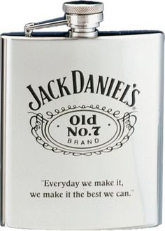 """Jack Daniel?s Flask w/ Black Old No. 7 by Jack Daniels Licenced barware. $28.95. Official licensed product. Captive top. Stainless Steel. 7 ounce capacity. The main subject of this flask is the Jack Daniel's Swing logo and Old No. 7 with Cartouche logo appearing in the center. The famous Jack Daniel's quote, """"Every day we make it, we make it the best we can,"""" is at the bottom of the flask. Twist-off stainless steel cap is permanently attached to the flask for los..."""