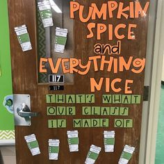 Fall Classroom Door Decor - Pumpkin Spice and Everything Nice! Perfect for October and November! #classroomdoordecor #bulletinboard